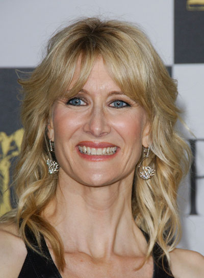 Laura Dern Medium, Wavy, Tousled, Blonde Hairstyle with Bangs