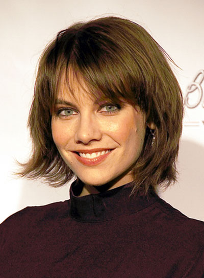 Lauren Cohan Short Layered Edgy Brunette Bob With Bangs