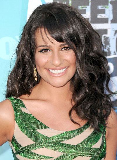 Lea Michele Curly, Brunette Hairstyle with Bangs