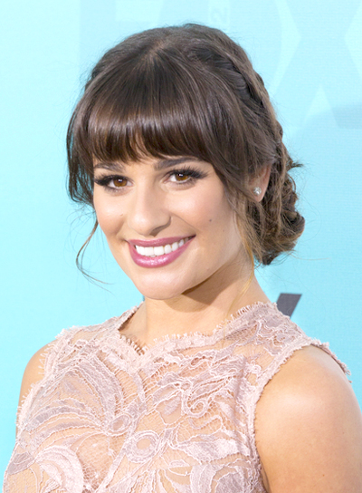 Lea Michele's Chic, Brunette, Hairstyle with Bangs and Braids and Twists