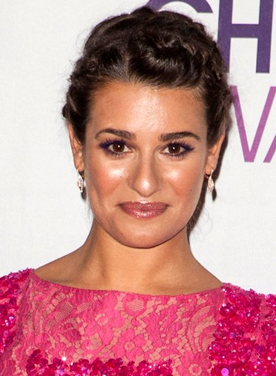 Lea Michele's Chic, Brunette, Updo Hairstyle with Braids and Twists