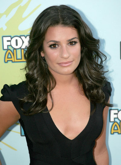 Lea Michele Romantic, Curly, Brunette Hairstyle