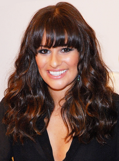 Lea Michele Long, Thick, Wavy, Chic, Brunette Hairstyle with Bangs and Highlights