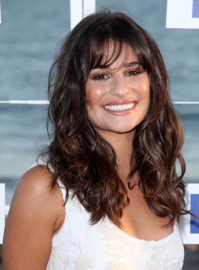 bang styles for long curly hair wavy hairstyles with bangs riot 9816 | lea michele long bangs wavy tousled brunette