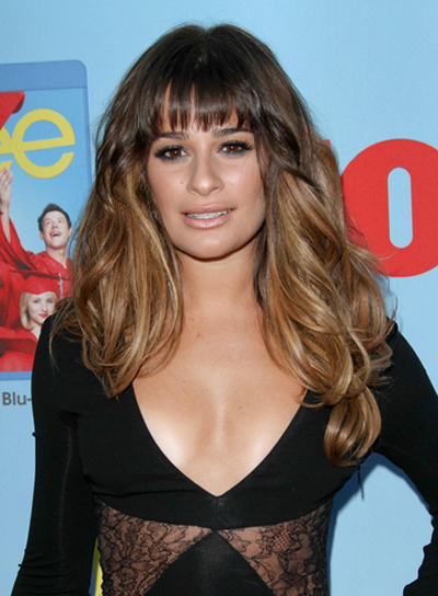 Lea Michele's Long, Tousled, Wavy, Brunette Hairstyle with Bangs