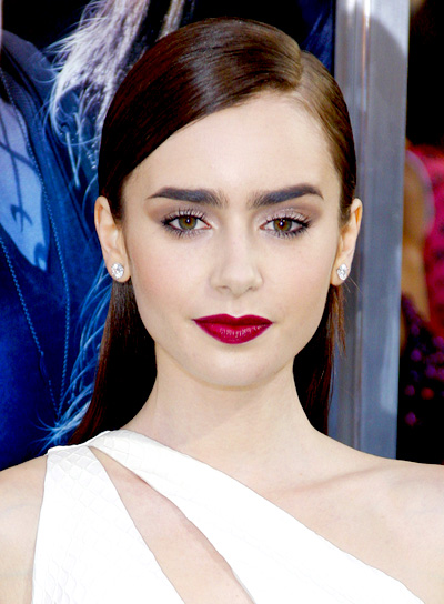 Lily Collins' Chic, Sophisticated, Straight, Brunette Hairstyle