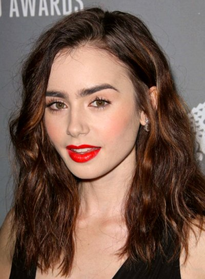 Lily Collins' Wavy, Brunette, Edgy, Party Hairstyle