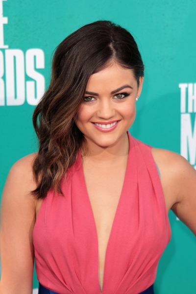 Lucy Hale's Chic, Romantic, Medium, Brunette Hairstyle