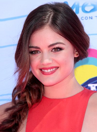 Lucy Hale's Long, Romantic, Brunette Hairstyle with Braids and Twists