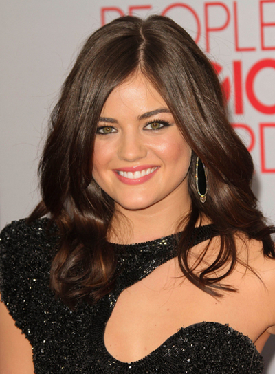 Lucy Hale Medium, Sexy, Romantic, Party, Brunette Hairstyle