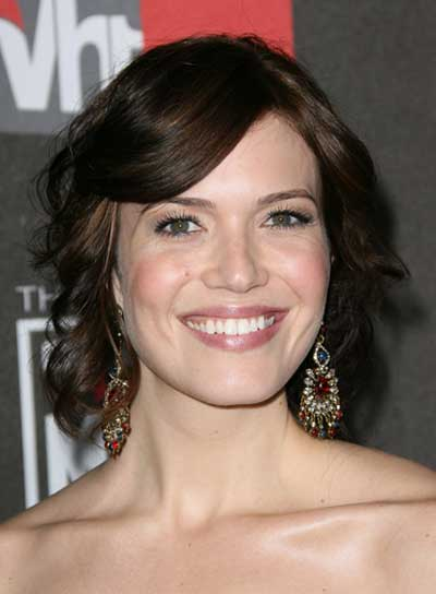 Mandy Moore Romantic, Curly, Brunette Updo with Bangs