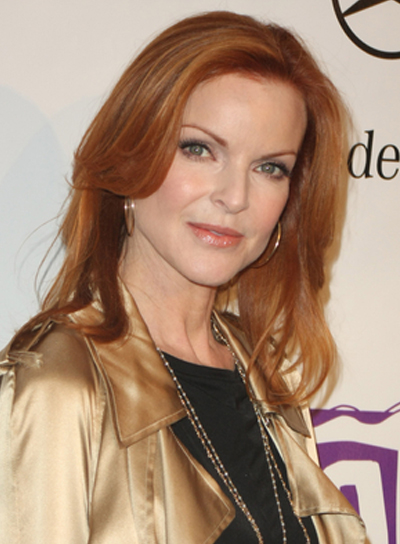 Marcia Cross Medium, Layered, Red Hairstyle with Highlights