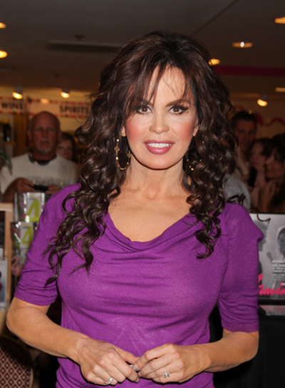 Marie Osmond Long, Curly, Sophisticated, Brunette Hairstyle with Bangs