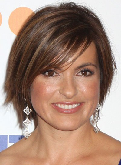 Mariska Hargitay Layered Hairstyle with Long Bangs