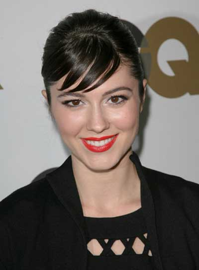 Mary Elizabeth Winstead Straight, Black, Updo with Bangs