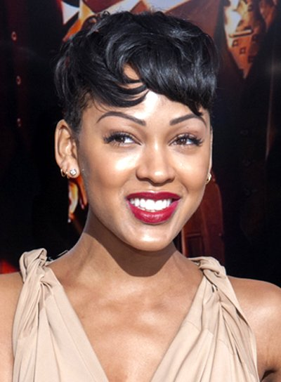 Meagan Good's Short, Black, Tousled, Hairstyle with Bangs