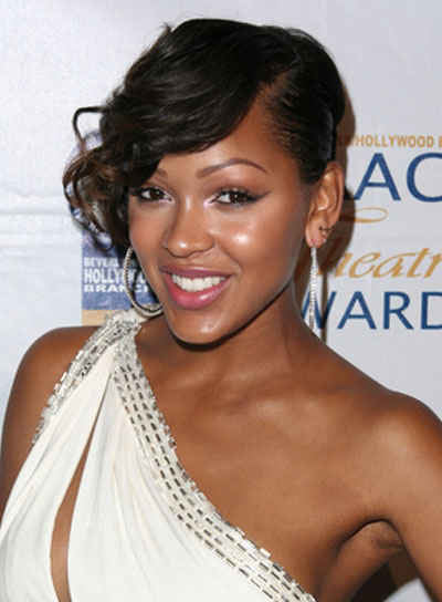 Meagan Good Curly, Black Updo with Bangs