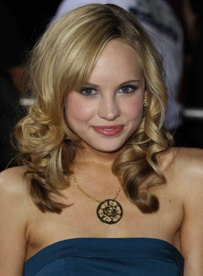 Meaghan Martin Medium, Curly, Blonde, Romantic Hairstyle