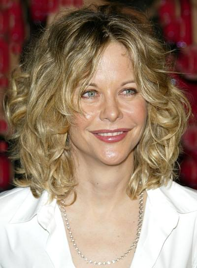 Meg Ryan Medium, Tousled, Curly Hairstyle