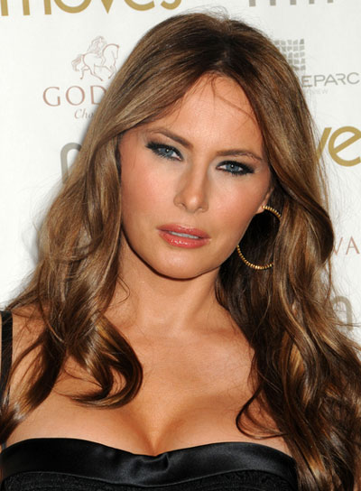 Melania Trump Long, Wavy, Sexy, Tousled, Brunette Hairstyle