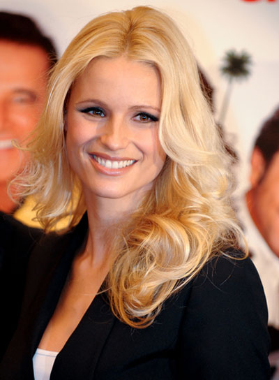 Michelle Hunziker Long, Curly, Sexy, Blonde Hairstyle