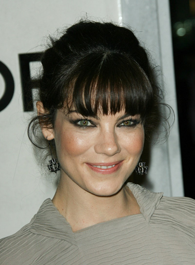Michelle Monaghan Black, Sophisticated, Tousled Updo with Bangs