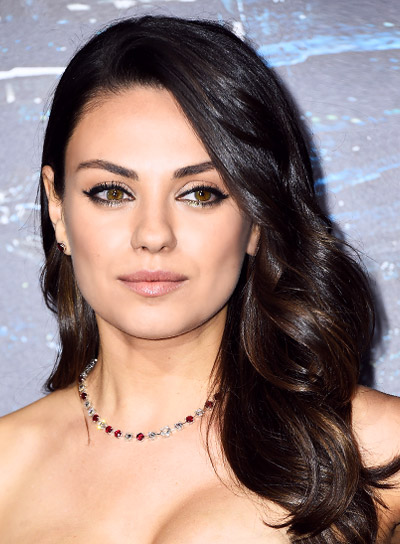 Mila Kunis with a Long, Romantic, Curly, Brunette Hairstyle Pictures