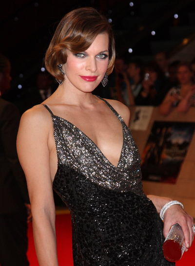 Milla Jovovich Short, Sophisticated Bob with Bangs and Highlights