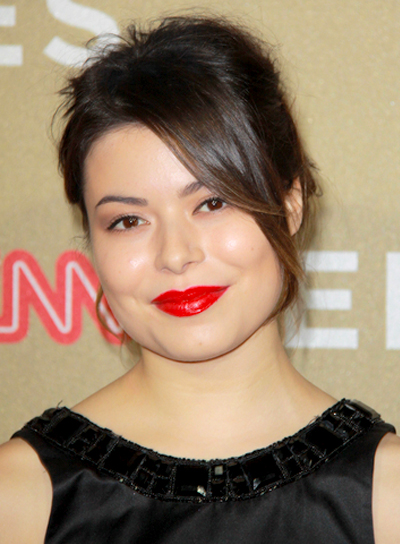 Miranda Cosgrove's Romantic, Brunette, Updo Hairstyle with Bangs