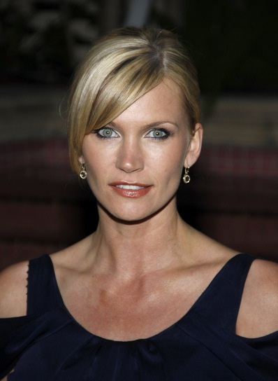 Natasha Henstridge Blonde, Sophisticated, Straight Updo with Bangs