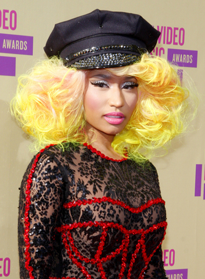 Nicki Minaj's Medium, Funky, Tousled, Edgy Hairstyle