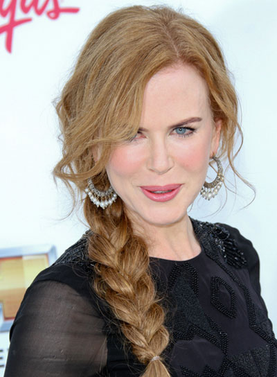 Nicole Kidman Chic, Edgy, Red Hairstyle with Braids and Twists