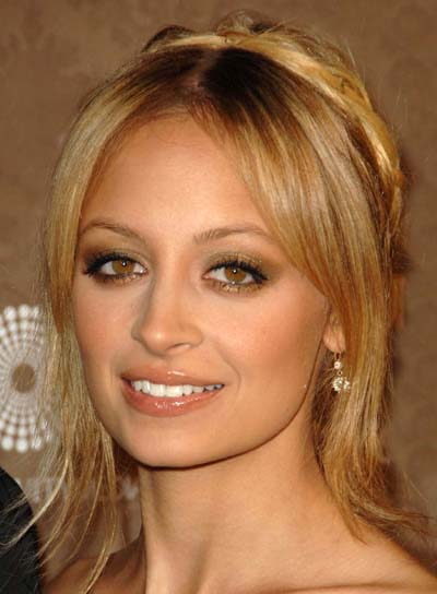 Nicole Richie Long, Blonde, Braided Updo with Bangs