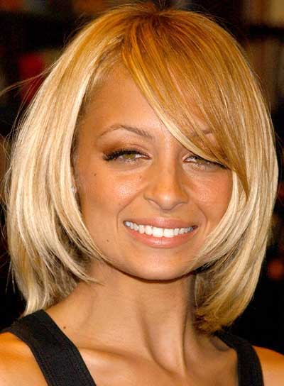 Nicole Richie Medium-Length, Straight, Blonde Bob for Parties