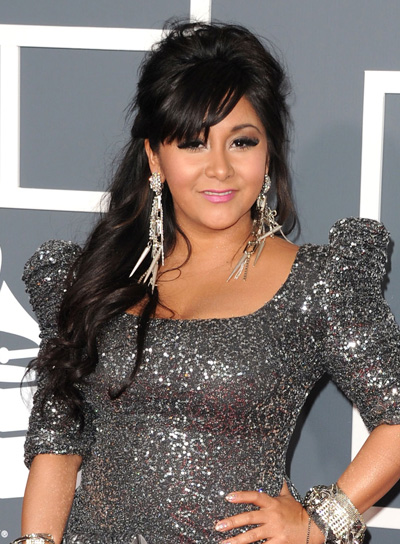 "Nicole ""Snooki"" Polizzi Long, Tousled, Brunette Half Updo with Bangs"