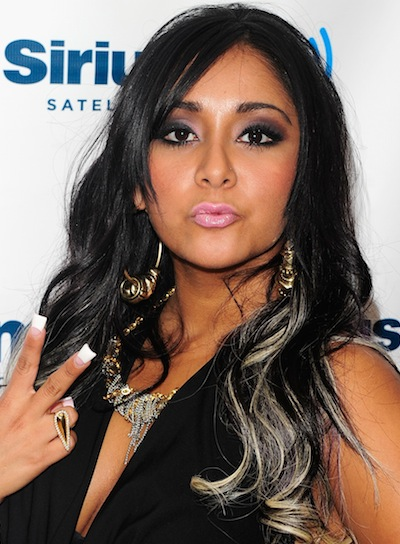 "Nicole ""Snooki"" Polizzi Long, Curly, Black Hairstyle with Highlights"