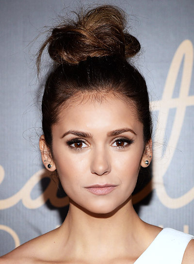 Nina Dobrev with a Funky, Brunette, Party, Updo Hairstyle Pictures