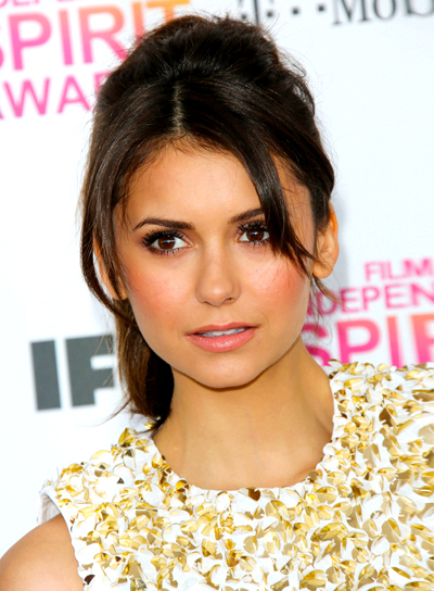 Nina Dobrev's Brunette, Updo, Ponytail Hairstyle with Bangs