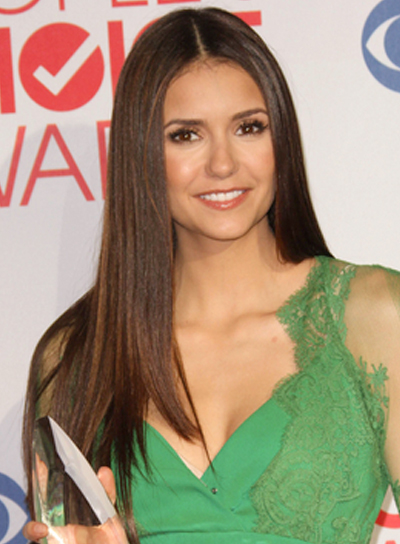 Nina Dobrev Long, Straight, Sophisticated, Brunette Hairstyle