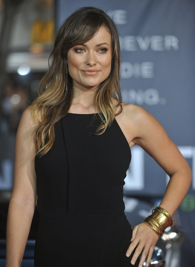 Olivia Wilde Long, Tousled, Sexy, Layered, Brunette Hairstyle with Highlights and Bangs