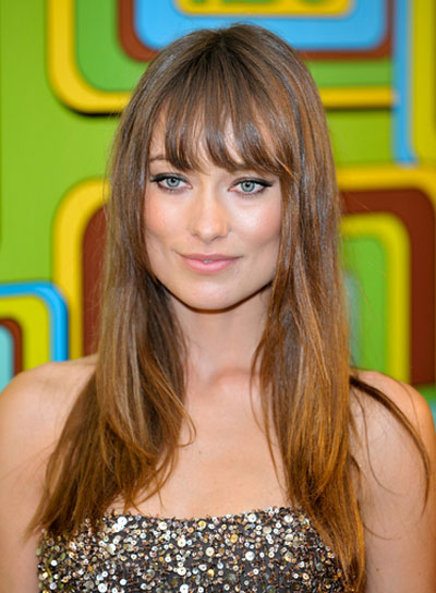 Olivia Wilde Long, Straight, Brunette Hairstyle with Bangs and Highlights