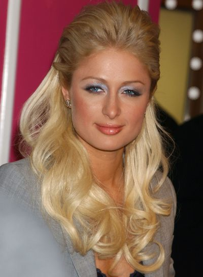 Paris Hilton Curly, Blonde Half Updo for Round Faces