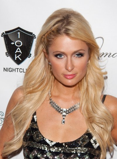 Paris Hilton Long, Chic, Blonde Hairstyle with Braids and Twists