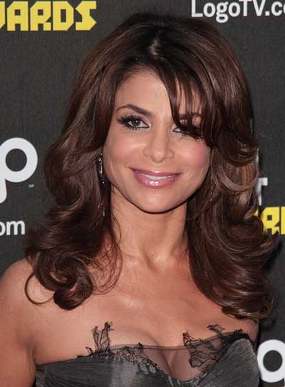 Paula Abdul Medium, Wavy, Brunette Hairstyle with Bangs