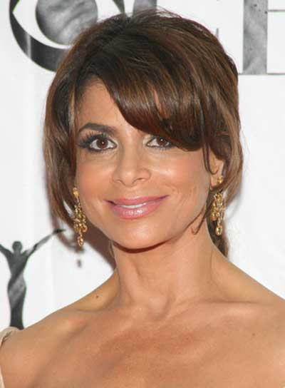 Paula Abdul Romantic, Brunette Updo with Bangs