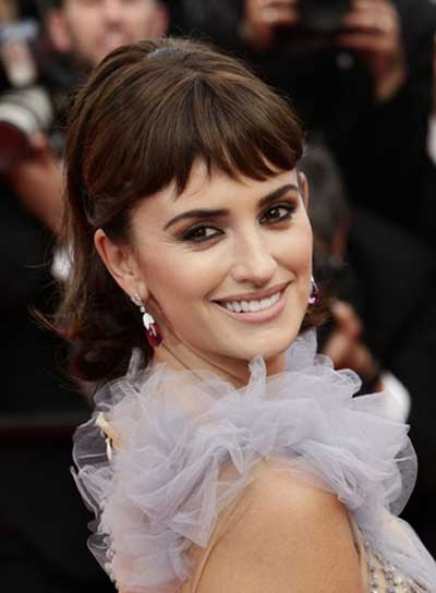 Penelope Cruz Sophisticated, Chic, Brunette, Prom Ponytail with Bangs