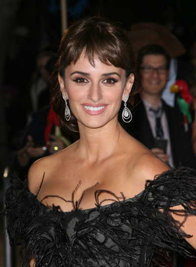 Penelope Cruz Long, Brunette Updo with Bangs