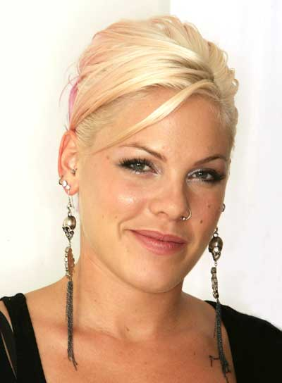 Pink's Straight, Edgy, Blonde Updo