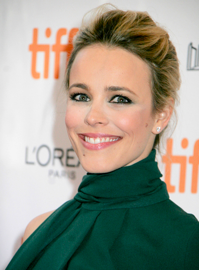 Rachel McAdams' Formal, Tousled, Updo Hairstyle with Highlights