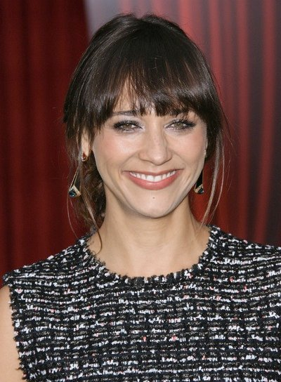 Rashida Jones Tousled, Chic, Brunette Updo with Bangs